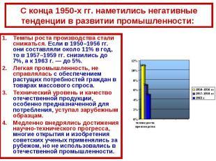 С конца 1950-х гг. наметились негативные тенденции в развитии промышленности: Те