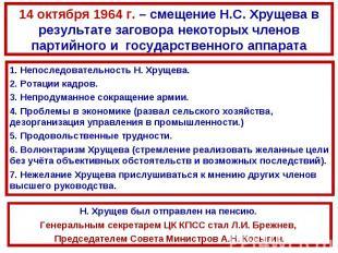 14 октября 1964 г. – смещение Н.С. Хрущева в результате заговора некоторых члено