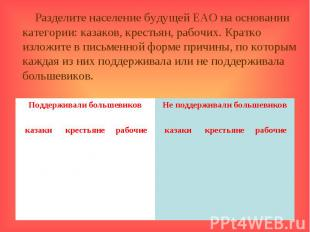 Разделите население будущей ЕАО на основании категории: казаков, крестьян, рабоч