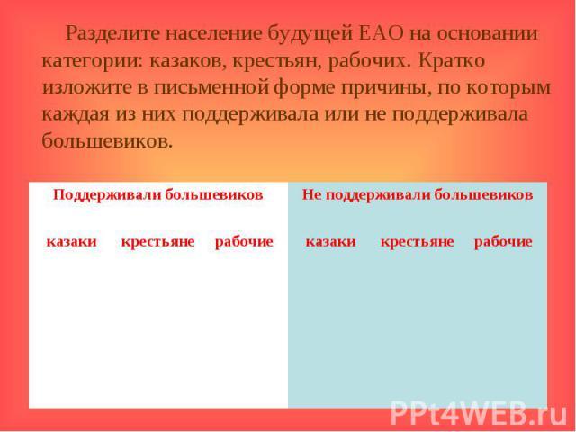 Разделите население будущей ЕАО на основании категории: казаков, крестьян, рабочих. Кратко изложите в письменной форме причины, по которым каждая из них поддерживала или не поддерживала большевиков.