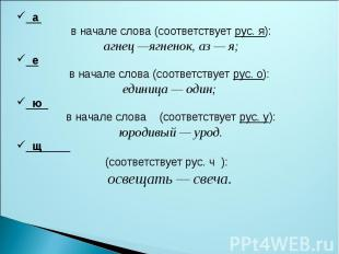 а в начале слова (соответствует рус. я): агнец —ягненок, аз — я; е в начале слов