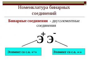 Номенклатура бинарных соединенийБинарные соединения - двухэлементные соединения
