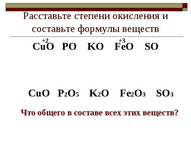 Расставьте степени окисления и составьте формулы веществСuO PO KO FeO SOСuO P2O5 K2O Fe2O3 SO3Что общего в составе всех этих веществ?