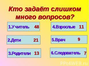 Кто задаёт слишком много вопросов?