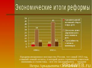 Экономические итоги реформыПредреволюционное могущество России, тот самый 1913 г