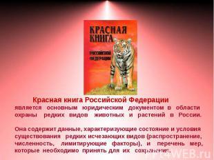 Красная книга Российской Федерацииявляется основным юридическим документом в обл
