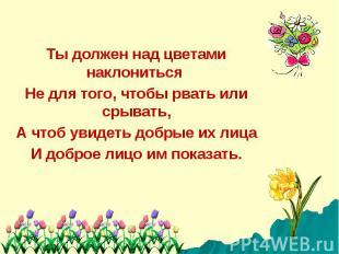 Ты должен над цветами наклониться Не для того, чтобы рвать или срывать,А чтоб ув