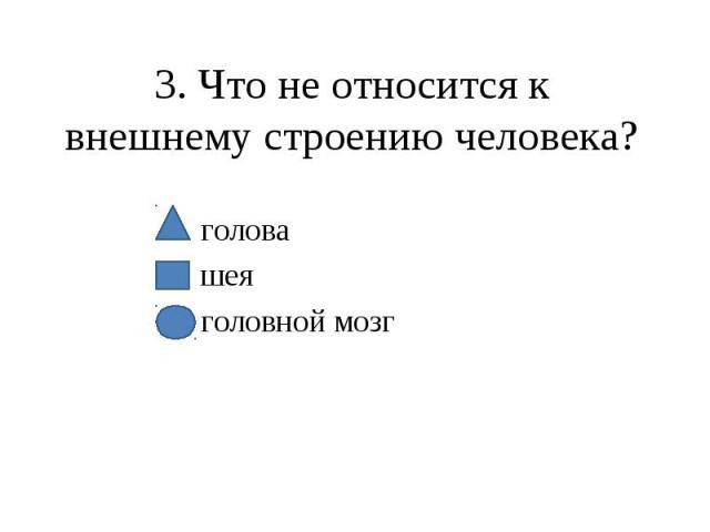3. Что не относится к внешнему строению человека? голова шея головной мозг