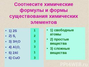 Соотнесите химические формулы и формы существования химических элементов1) 2S2)