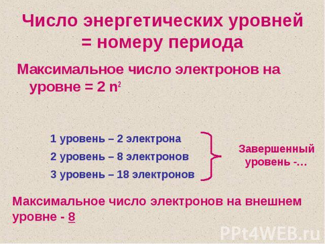 Число энергетических уровней = номеру периодаМаксимальное число электронов на уровне = 2 n2Максимальное число электронов на внешнем уровне - 8