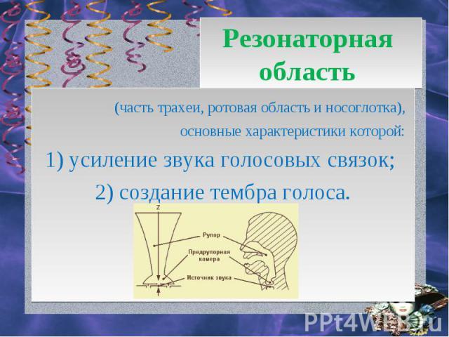 Резонаторная область (часть трахеи, ротовая область и носоглотка), основные характеристики которой: 1) усиление звука голосовых связок; 2) создание тембра голоса.