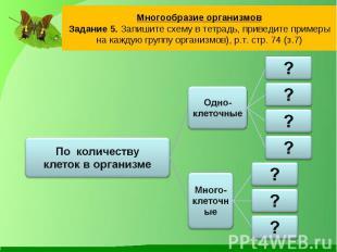 Многообразие организмовЗадание 5. Запишите схему в тетрадь, приведите примеры на