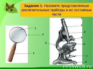Задание 1. Назовите представленные увеличительные приборы и их составные части