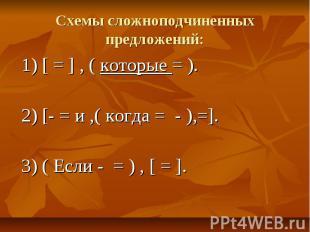 Схемы сложноподчиненных предложений:1) [ = ] , ( которые = ).2) [- = и ,( когда