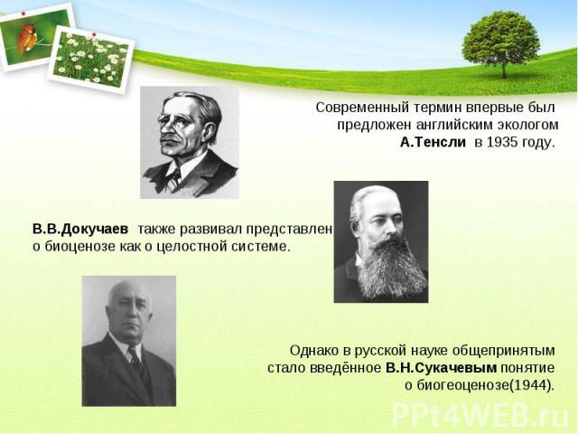 Современный термин впервые был предложен английским экологомА.Тенсли в 1935 году. В.В.Докучаев также развивал представление о биоценозе как о целостной системе. Однако в русской науке общепринятым стало введённое В.Н.Сукачевым понятие о биогеоценоз…