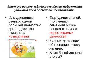 Этот же вопрос задали российским подросткам ученые в ходе большого исследования.