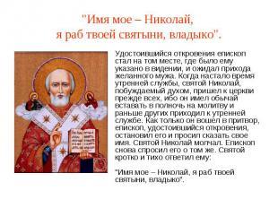 """""""Имя мое – Николай, я раб твоей святыни, владыко"""".Удостоившийся откровения еписк"""