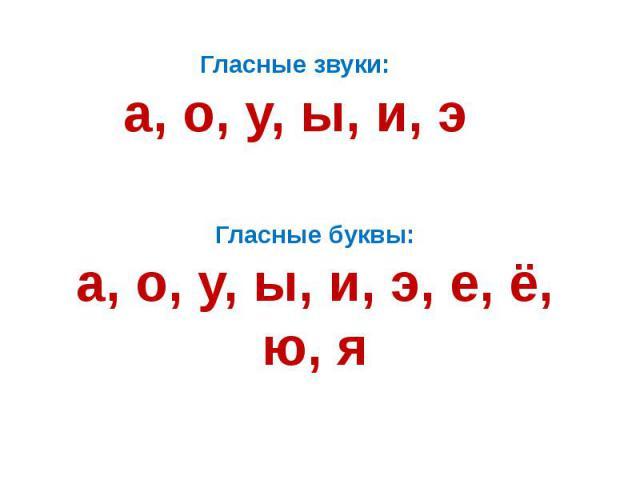 Гласные звуки:а, о, у, ы, и, эГласные буквы:а, о, у, ы, и, э, е, ё, ю, я