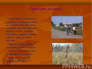 Территорию Егоровского сельсовета составляют земли населённых пунктов: село Егор