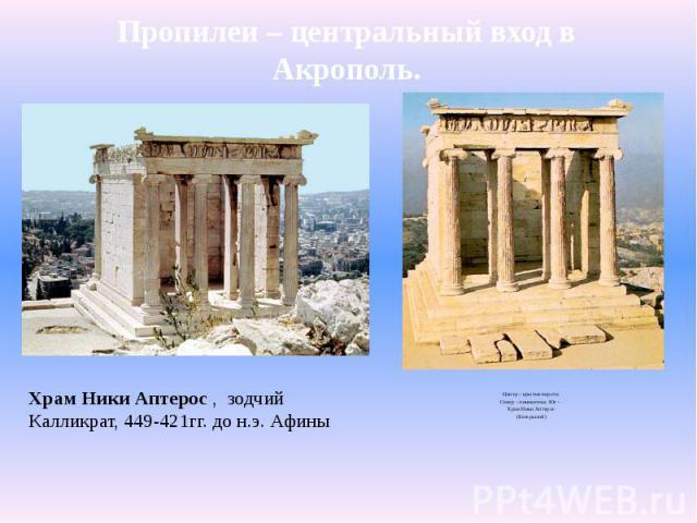 Пропилеи – центральный вход в Акрополь.Центр – крытые ворота.Север – пинакотека. Юг – Храм Ники Аптерос(Бескрылой)