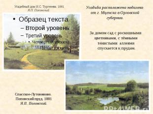 Усадебный дом И.С. Тургенева. 1881Я.П. Полонский.