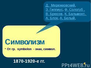 Д. Мережковский,З. Гиппиус, Ф. Сологуб ,В. Брюсов, К. Бальмонт, А. Блок, А. Белы