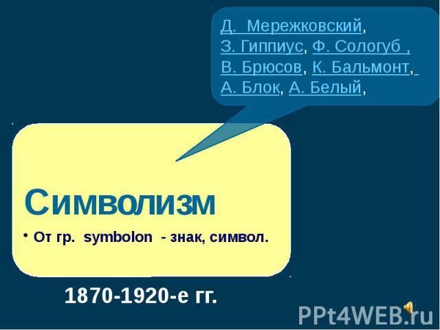 Д. Мережковский,З. Гиппиус, Ф. Сологуб ,В. Брюсов, К. Бальмонт, А. Блок, А. Белый,