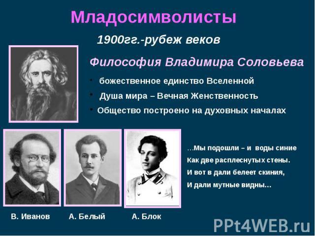 Младосимволисты 1900гг.-рубеж веков