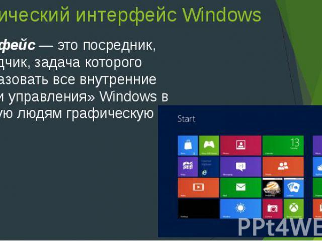 Графический интерфейс Windows Интерфейс— это посредник, переводчик, задача которого преобразовать все внутренние «рычаги управления» Windows в понятную людям графическую форму.