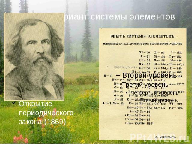 Первый вариант системы элементовОткрытие периодического закона (1869)