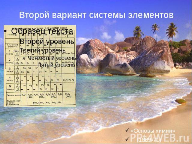 Второй вариант системы элементов«Основы химии» (1869-71)