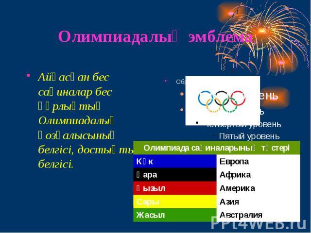 Олимпиадалық эмблема Айқасқан бес сақиналар бес құрлықтың Олимпиадалық қозғалысының белгісі, достықтың белгісі.