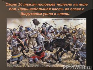 Около 10 тысяч половцев полегло на поле боя. Лишь небольшая часть во главе с Шар