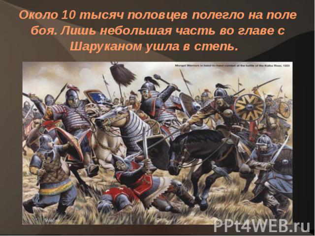 Около 10 тысяч половцев полегло на поле боя. Лишь небольшая часть во главе с Шаруканом ушла в степь.