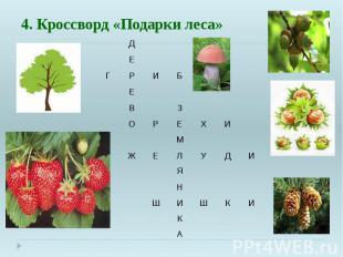 4. Кроссворд «Подарки леса»