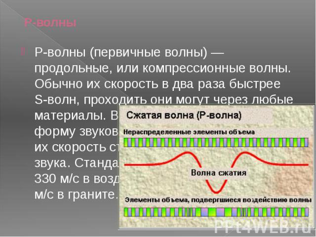 P-волны P-волны (первичные волны)— продольные, или компрессионные волны. Обычно их скорость в два раза быстрее S-волн, проходить они могут через любые материалы. В воздухе они принимают форму звуковых волн, и, соответственно, их скорость стано…