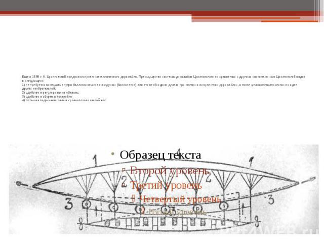 Еще в 1890 г. К. Циолковский предложил проект металлического дирижабля. Преимущество системы дирижабля Циолковского по сравнению с другими системами сам Циолковский видит в следующем: 1) не требуется помещать внутри баллона мешков с воздухом (баллон…