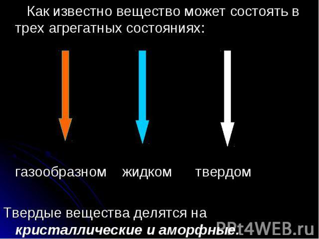 Как известно вещество может состоять в трех агрегатных состояниях: Как известно вещество может состоять в трех агрегатных состояниях: газообразном жидком твердом Твердые вещества делятся на кристаллические и аморфные.