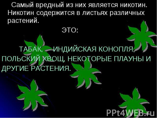 Самый вредный из них является никотин. Никотин содержится в листьях различных растений. Самый вредный из них является никотин. Никотин содержится в листьях различных растений. ЭТО: ТАБАК, ИНДИЙСКАЯ КОНОПЛЯ, ПОЛЬСКИЙ ХВОЩ, НЕКОТОРЫЕ ПЛАУНЫ И ДРУГИЕ Р…