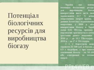 Україна має значний потенціал біологічних ресурсів для виробництва біогазу, вико