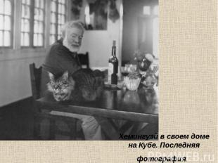 Хемингуэй в своем доме на Кубе. Последняя фотография.
