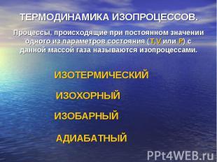ТЕРМОДИНАМИКА ИЗОПРОЦЕССОВ.