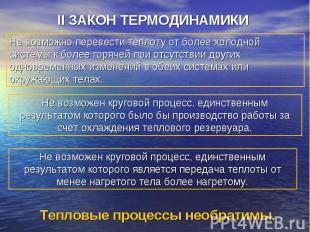 II ЗАКОН ТЕРМОДИНАМИКИ