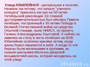 """Улица ЮБИЛЕЙНАЯ - центральная в поселке. Названа так потому, что начало """"ул"""