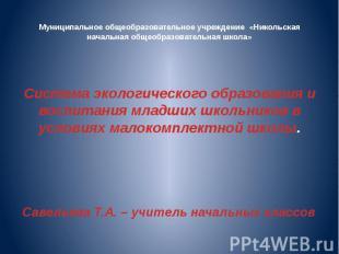 Муниципальное общеобразовательное учреждение «Никольская начальная общеобразоват