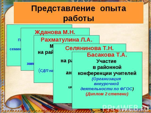 Басакова Т.А.Участие в районной конференции учителей(Организация внеурочной деятельности по ФГОС)(Диплом 2 степени)