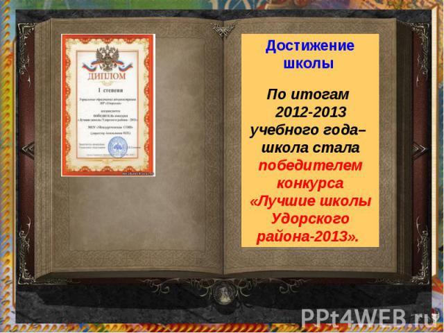 Достижение школы По итогам 2012-2013 учебного года– школа стала победителем конкурса «Лучшие школы Удорского района-2013».