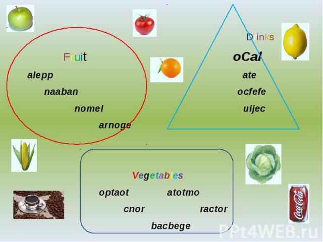 Drinks Fruit oCal alepp ate naaban ocfefe nomel uijec arnoge Vegetables optaot atotmo cnor ractor bacbege