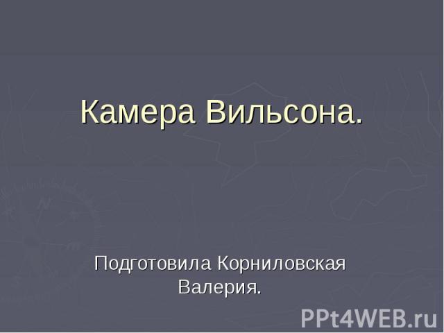 Камера Вильсона. Подготовила Корниловская Валерия.