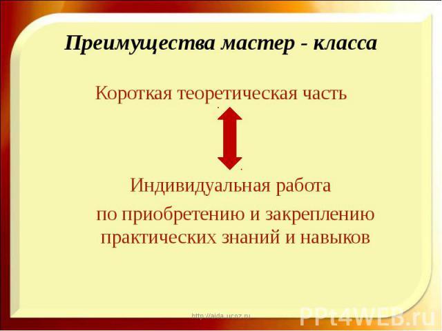 Короткая теоретическая часть Короткая теоретическая часть Индивидуальная работа по приобретению и закреплению практических знаний и навыков